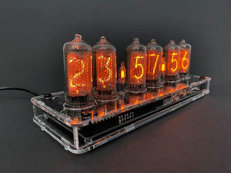 In-8-2 Nixie Tube Clock KIT With Transparent Acrylic Case