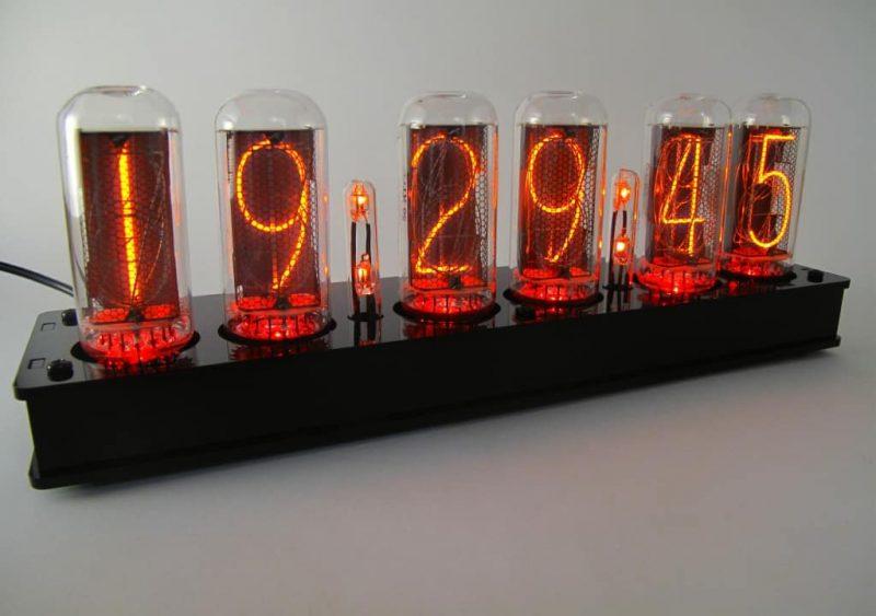 In-18 Nixie Tube Clock KIT DIY. Black plexiglass case.