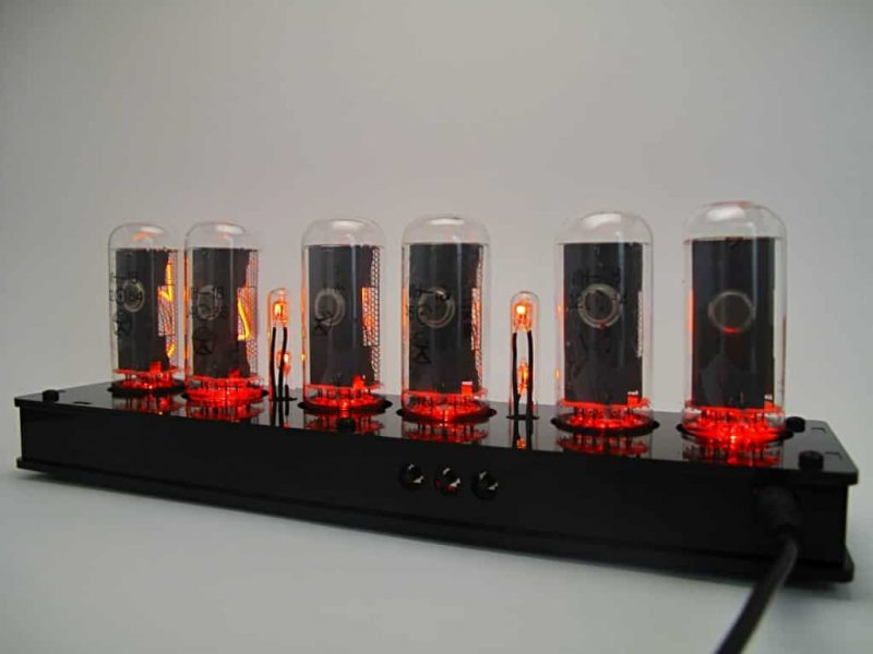 In-18 Nixie Tube Clock KIT DIY. Black plexiglass case.