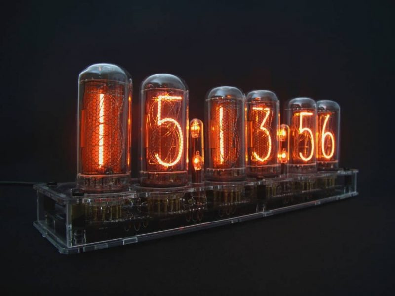 In-18 Nixie Tube Clock KIT DIY. Transparent plexiglass case.