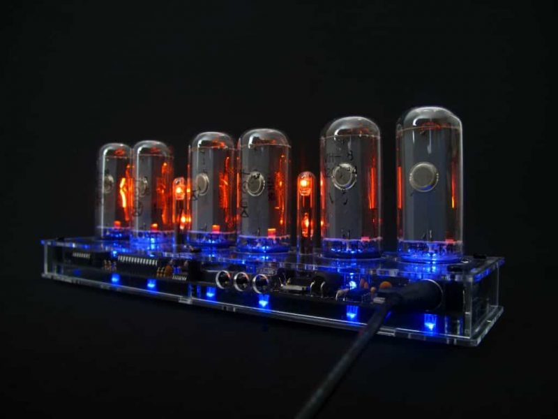In-18 Nixie Tube Clock KIT DIY. Transparent plexiglass case.