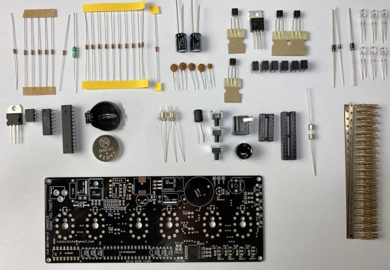 Component List for In-12 Nixie Tube Clock KIT